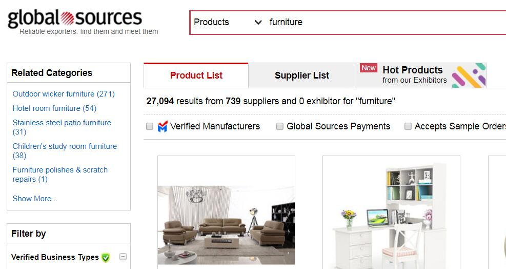 globalsources to Import Furniture From China