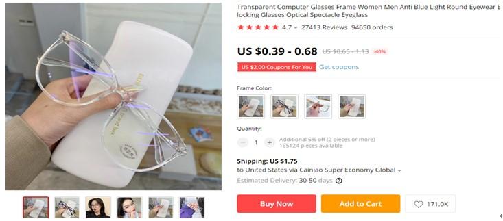 MM Transparent Computer Glasses Frame